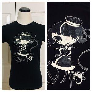 Vintage Hot Topic Goth Creepy Sailor Girl T-shirt